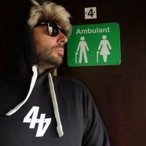 44T merchandise black hood white numero print