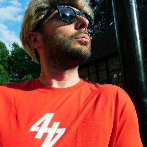 44 Teeth merchandise red tee shirt white numero 44 logo print