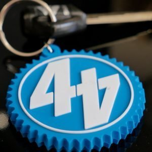 44T merchandise blue keyring with white logo